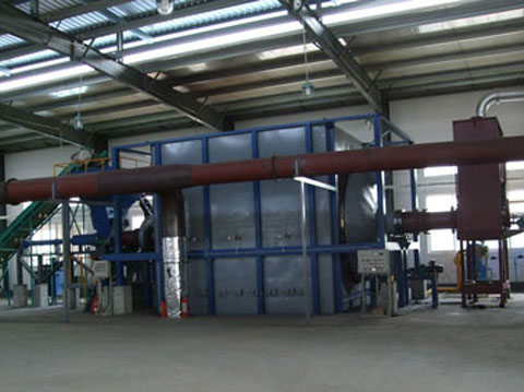 Large pyrilysis plant for dealing medical waste